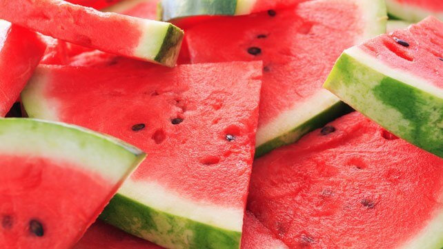 Sliced watermelon with black seeds