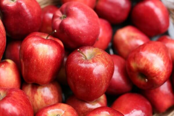 A bunch of red apples