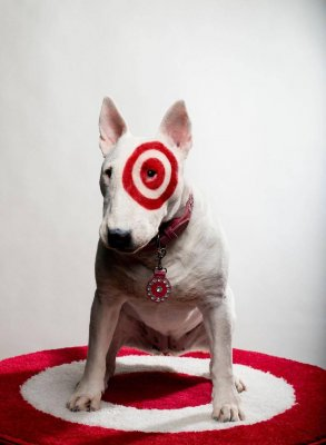 Bullseye, the target mascot sits for a photo