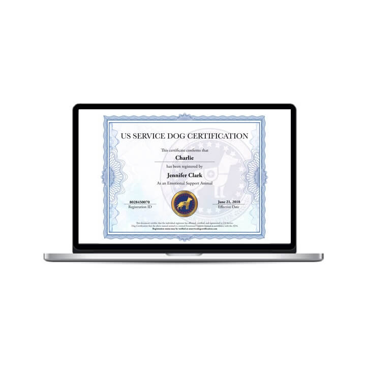 Emotional Support Animal Digital Certificate