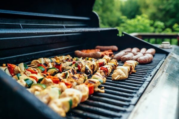 chicken skewers on the bbq